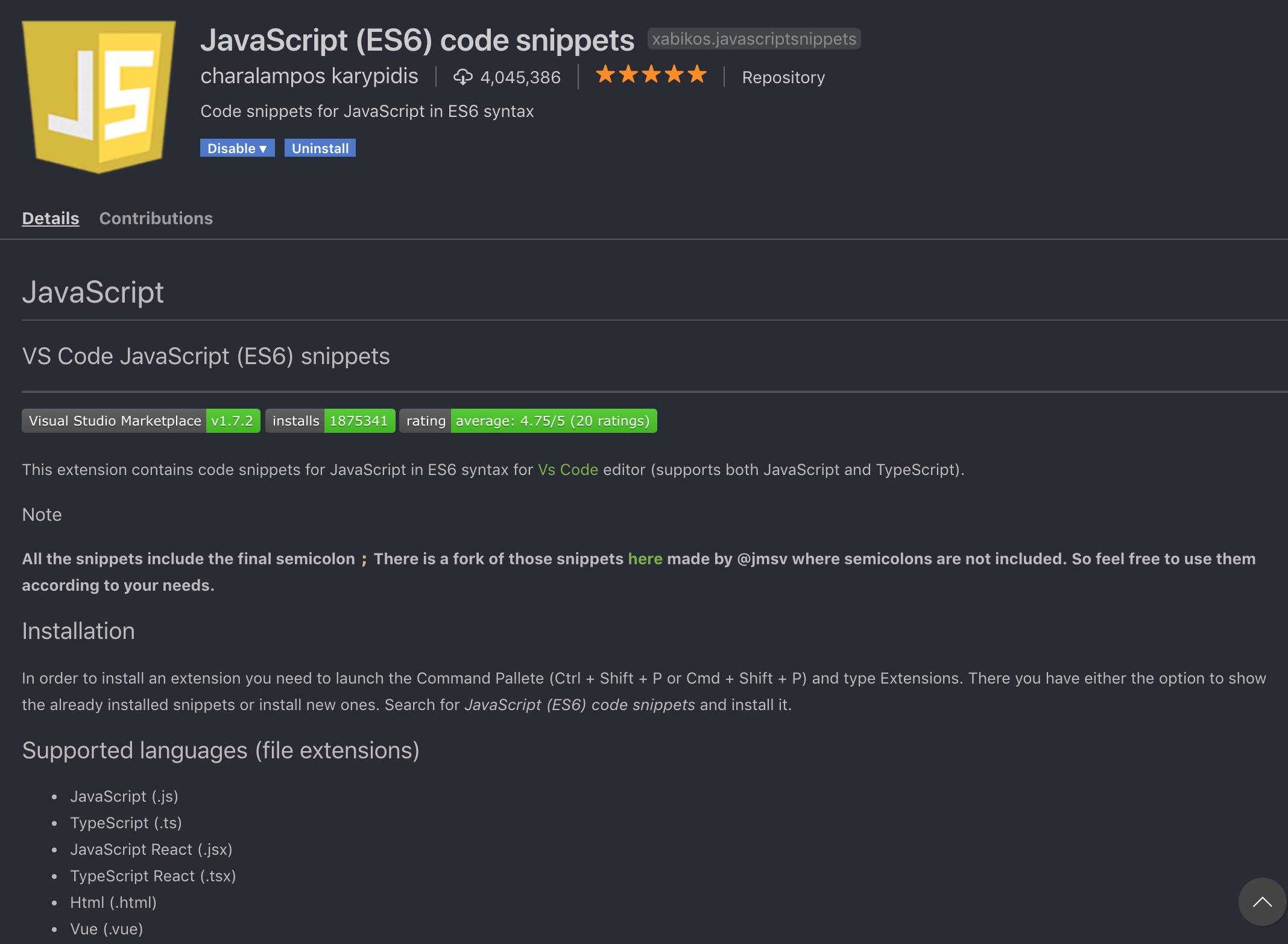 JavaScript (ES6) Code Snippets